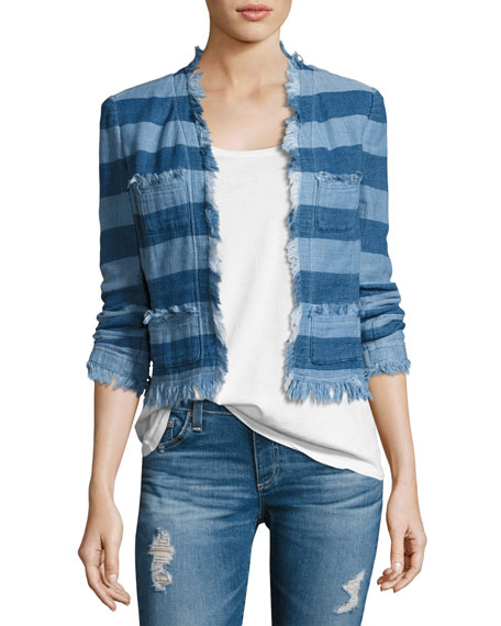 AG Adriano Goldschmied Capucine Striped Open-Front Denim Jacket,