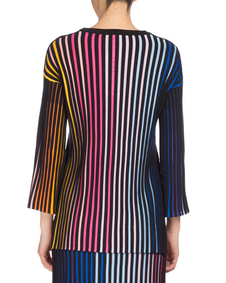 Crewneck Paneled Sweater, Multicolor