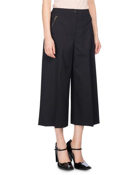 Wide-Leg Mid-Rise Culotte Pants, Black