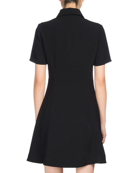 Fit And Flare Polo Dress, Black