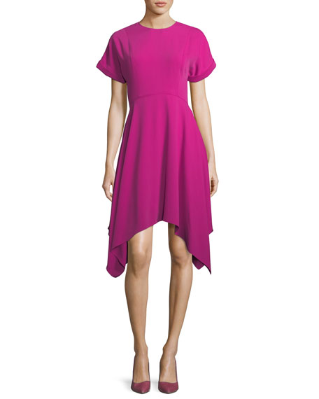 Jewel-Neck Short-Sleeve Crepe Dress w/ Handkerchief Hem