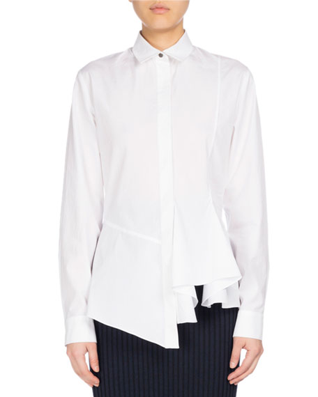 Long-Sleeve Collared Peplum Shirt, White