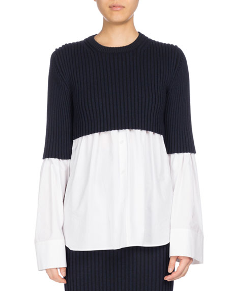 Kenzo Mixed-Knit Long Sleeve Top, White