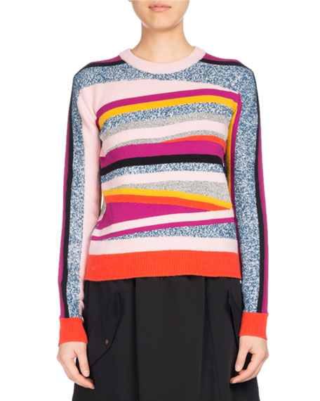 Broken Stripe Crewneck Fitted Sweater, Pink Pattern