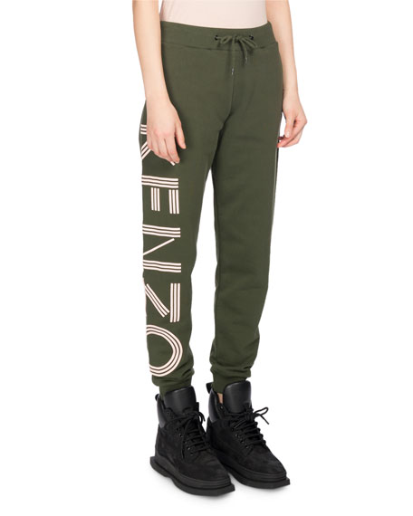 Classic Logo-Side Cotton Jogger Pants, Olive