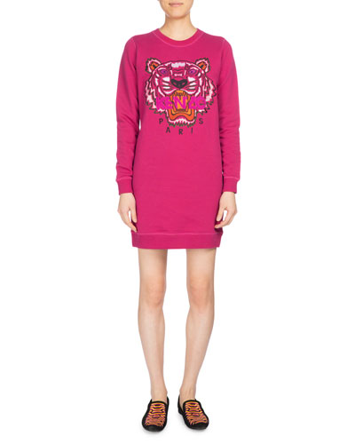Tiger Classic Sweatshirt Dress, Fuchsia