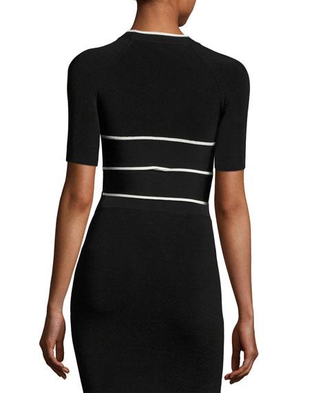 Short-Sleeve Crisscross Crop Top W/ Tipping, Black