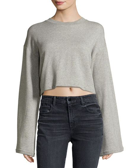 Tie-Back Long-Sleeve Sweatshirt, Gray