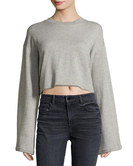 Tie-Back Long-Sleeve Sweatshirt, Gray