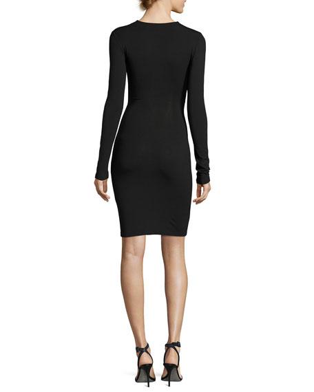 Twist-Front Stretch Long-Sleeve Dress, Black