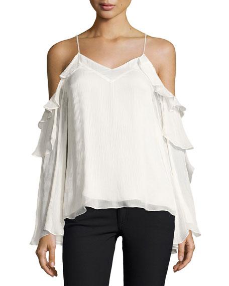 Starshine Silk Cold-Shoulder Blouse, White