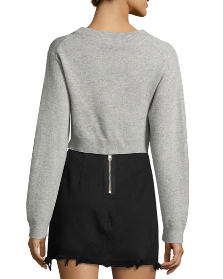 Long-Sleeve Twist-Front Sweater, Gray