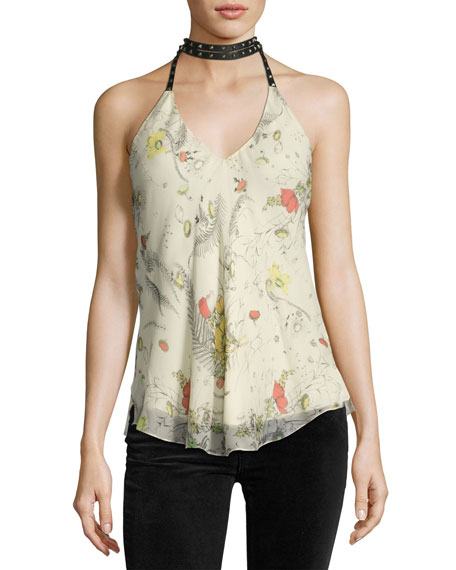 Haute Hippie Jaded Silk Chiffon Choker Halter Top,