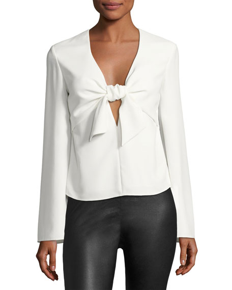 Long-Sleeve Tie Front Shirt, Ivory