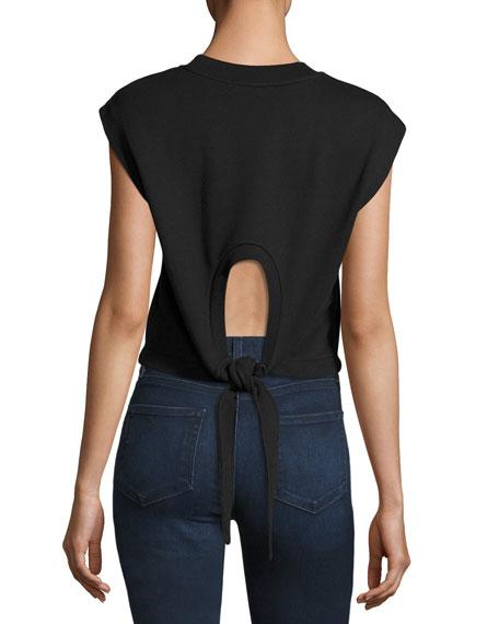 Tie Back Cropped Muscle Sweatshirt