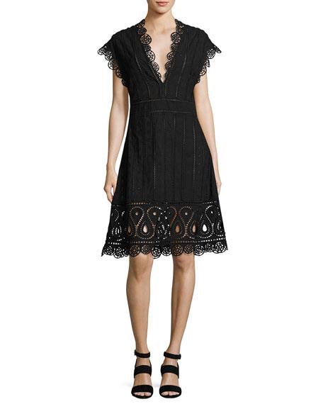 Anglaise Short-Sleeve Eyelet Dress, Black