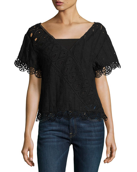 Opening Ceremony Anglaise Popover Embroidered Top, Black