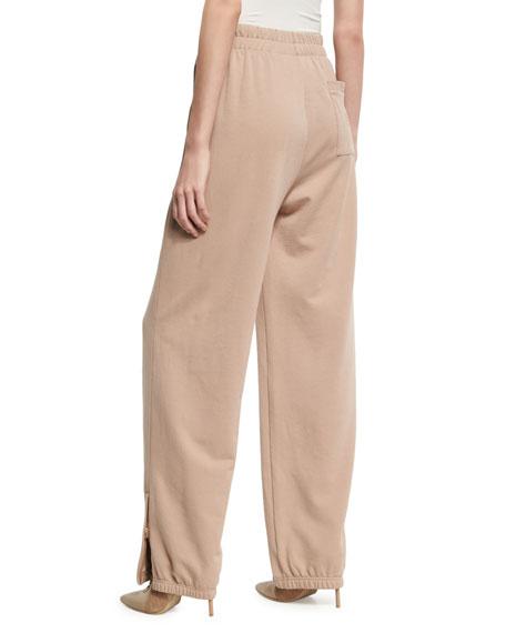 Front Lacing HIgh-Waist Sweatpants, Beige