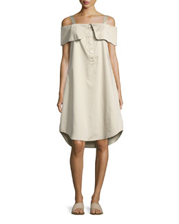French Cuff Cold-Shoulder Dress, Khaki