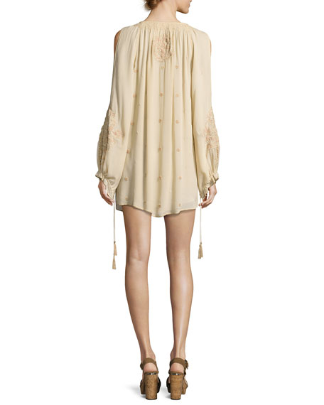 Penny Embroidered Silk Mini Dress, White