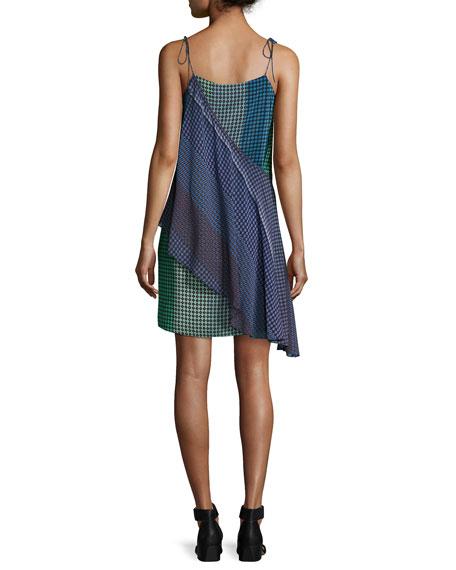 Foulard Printed Silk Wrap Dress, Green/Blue