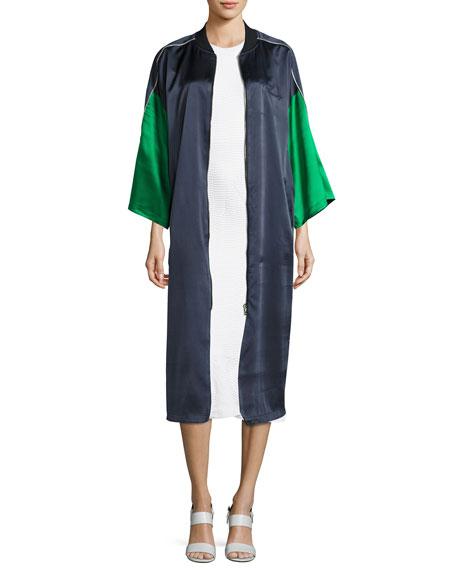 Wavy Lotus Striped Dress, White