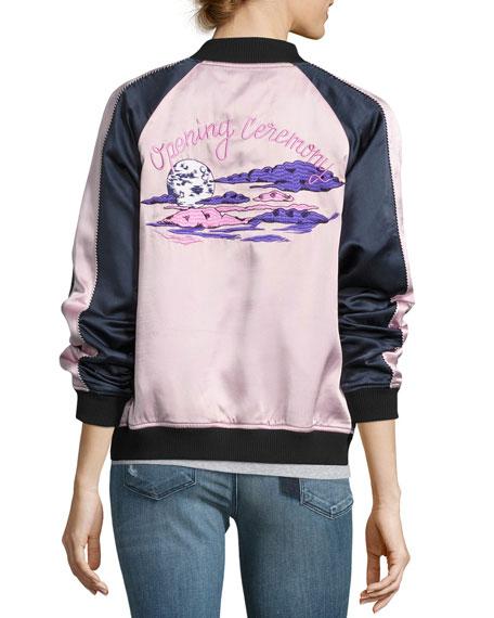 Reversible Night Sky Silk Bomber Jacket