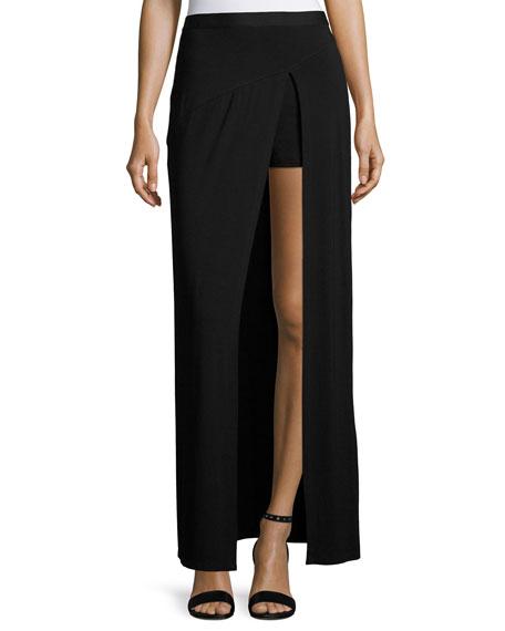 Slayer Jersey Slit Maxi Skirt, Black