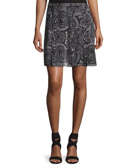 Paisley-Printed Silk Snap Skirt, Black
