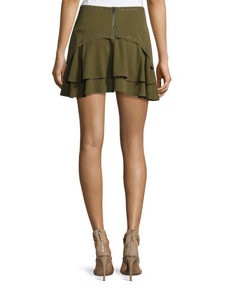 Flirty Tiered Grommet Silk Skirt, Green