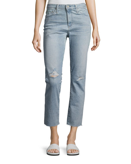 AG Isabelle High-Rise Straight Cropped Jeans, Blue