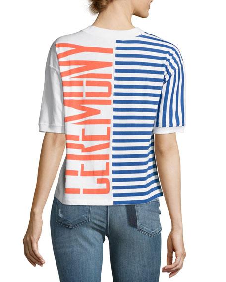 Striped Stretch Logo Tee, Multicolor