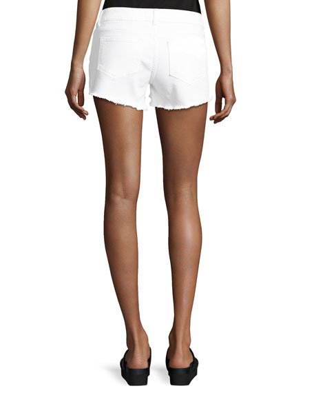 Renee Cutoff Denim Shorts, White