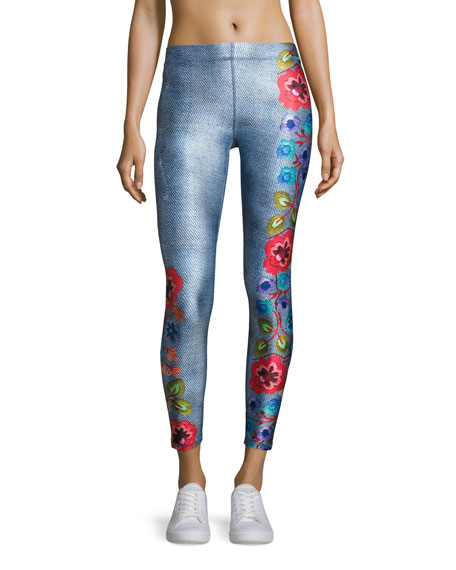Floral Embroidery Performance Leggings, Multi Pattern