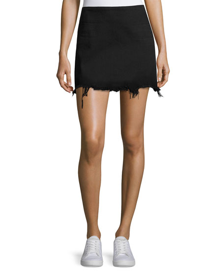 alexanderwang.t Faded Denim Zip-Back Mini Skirt, Black