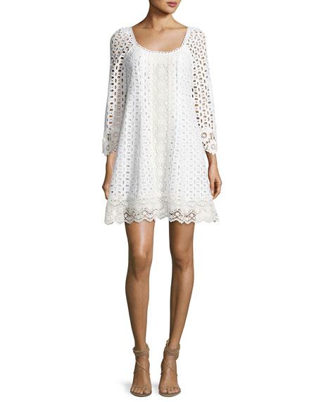 Eye Candy Cotton Eyelet Swing Dress, White