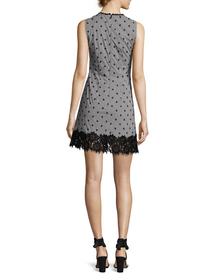 Highline Sleeveless Gingham Mini Dress, Black/White