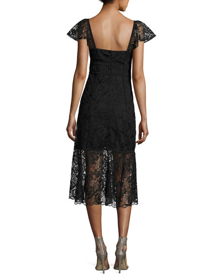 Firefly Cap-Sleeve Lace Midi Dress, Black