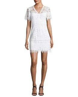Dandelion Short-Sleeve Lace Shift Dress, White