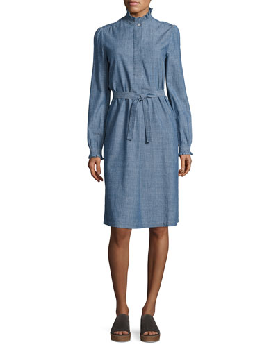 Astor Chambray Shirtdress, Indigo