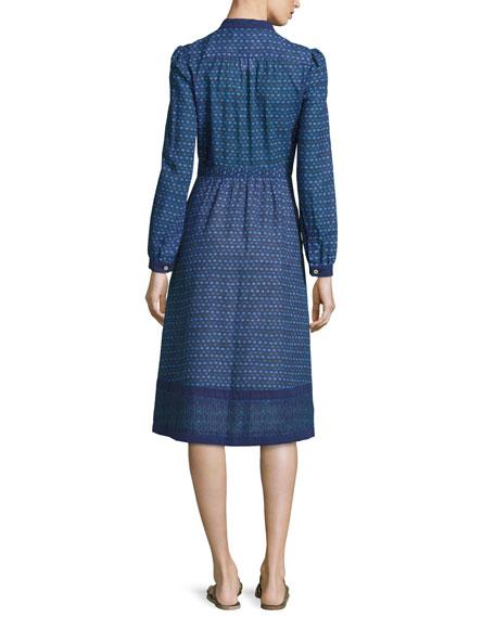 Romy Print Voile Dress, Blue