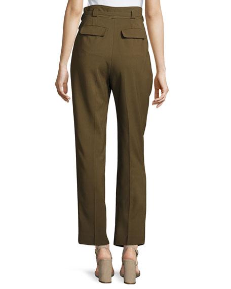 Isa High-Waist Tapered Pants, Khaki