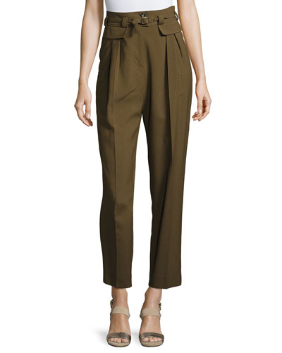 Isa High-Waist Tapered Pants, Khaki
