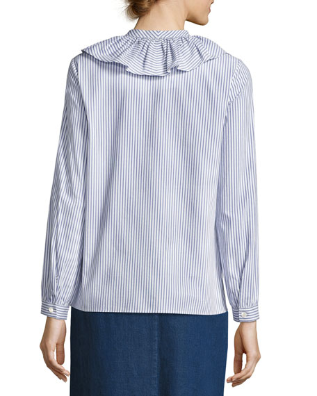 Sixtine Striped Ruffle-Collar Blouse, Blue