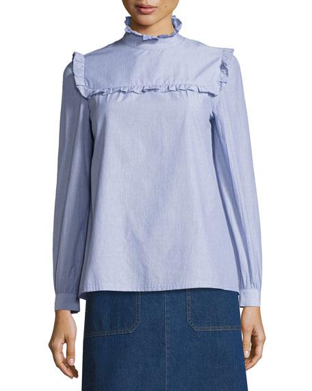 Thea Ruffle-Collar Poplin Blouse, Blue