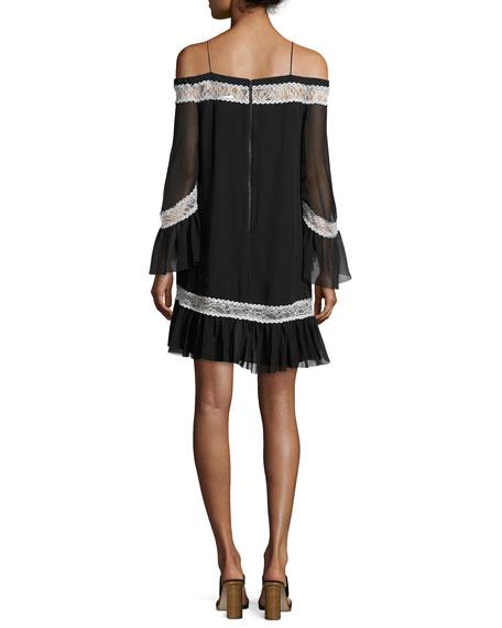 Willie Cold-Shoulder Bell-Sleeve Silk Dress