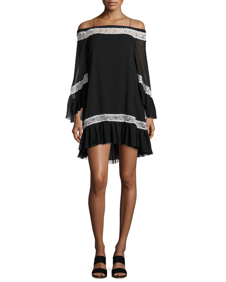 Alice + Olivia Willie Cold-Shoulder Bell-Sleeve Silk Dress