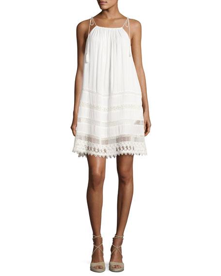 Danna Tie-Strap Short Dress, White