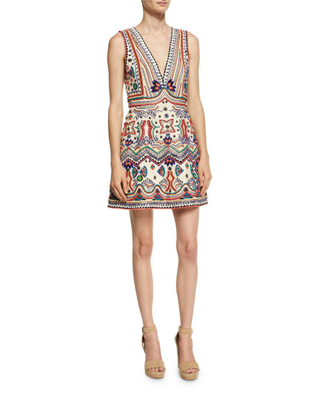 Alice + Olivia Patty Embellished Seamed A-Line Dress,