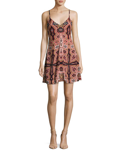 Alves Cross-Back Flared Dress, Multi